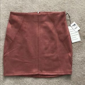 Charlotte Russe Pink Suede Mini Skirt Size Large